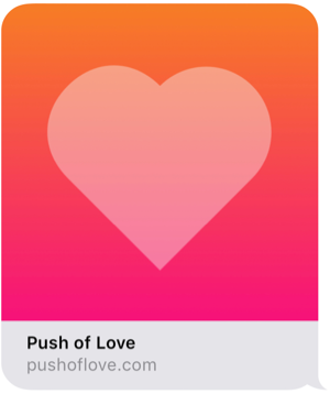 PushOfLove.com iMessage link preview with heading and image