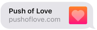 PushOfLove.com iMessage link preview with heading and logo