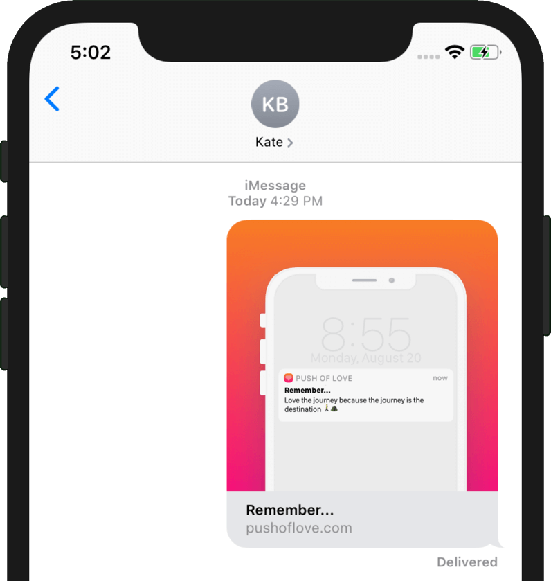 Push of Love iMessage Preview Example