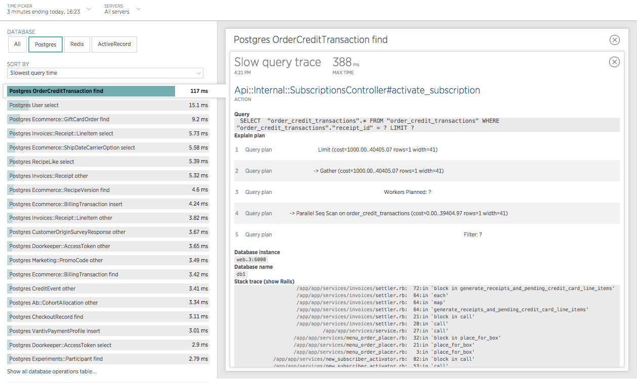 Screenshot from New Relic showing a slow query trace from the Postgres `OrderCreditTransaction find` operation.